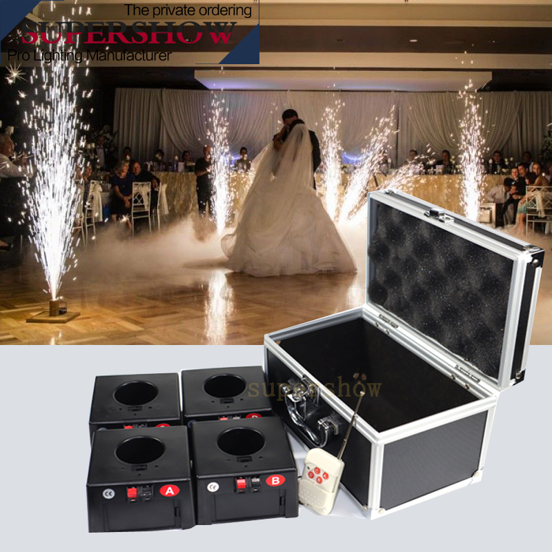 4 Cues Receiver Wedding Sparking Machine Stage Effect Fountain Remote Control Cold Fireworks System  For Wedding Stages