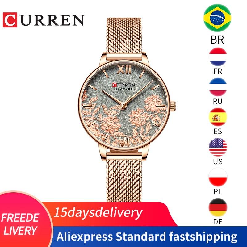 CURREN Women Watches Top Brand Luxury Stainless Steel Strap Wristwatch For Women Rose Clock Stylish Luxury Quartz Ladies Watch