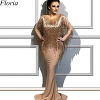 Modest Plus Size Champagne Glitter Cocktail Dress Middle East Mermaid Long Formal Evening Prom Party Dress Opening Ceremony