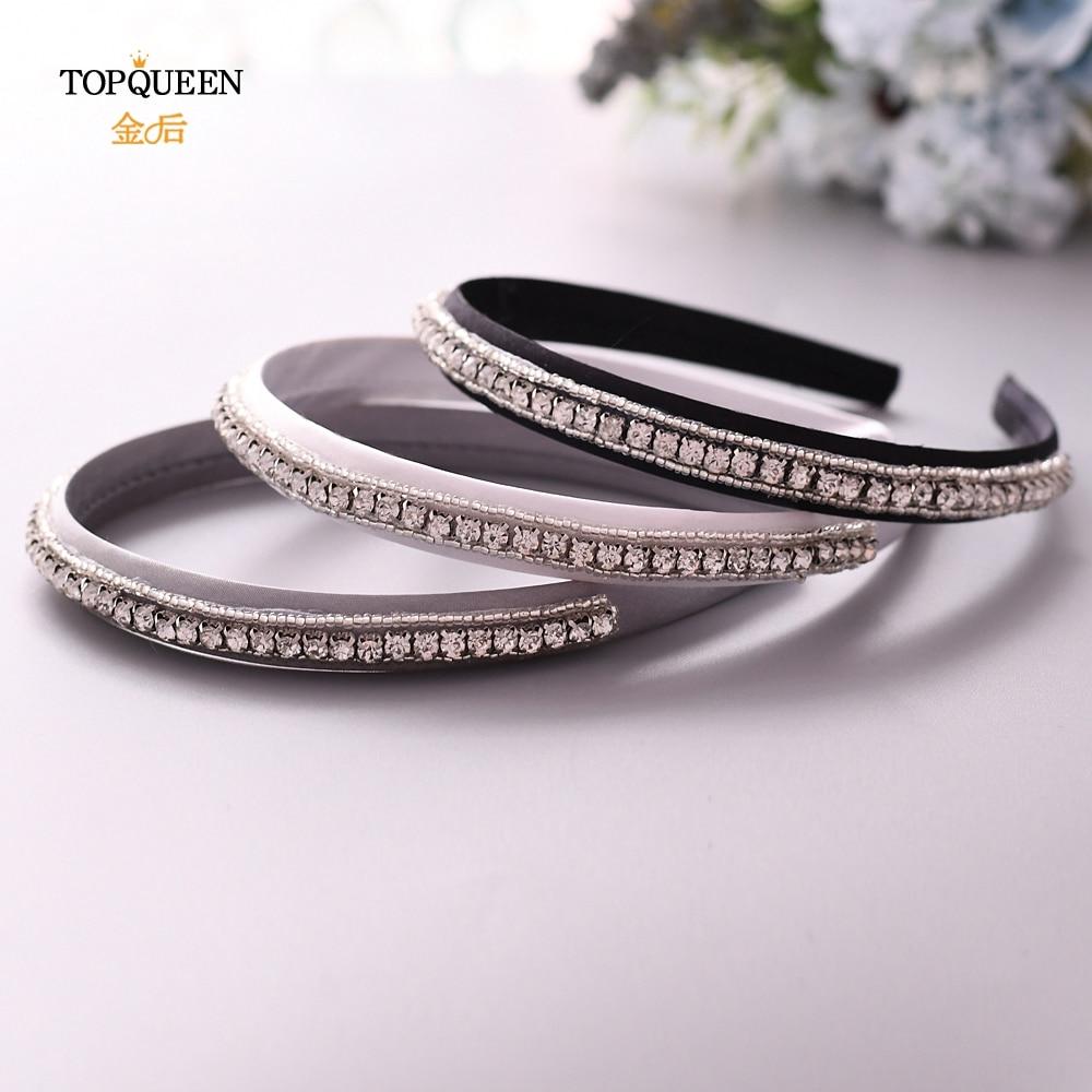 TOPQUEEN S217-FG Wedding Rhinestone Hair Accessories Bridal Tiara Headpieces Silver Rhinestone Headband Wedding Hair Jewelry