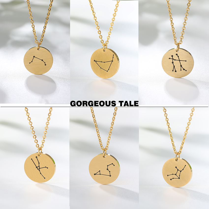 Hot Sale Twelve Constellations Pendants Stainless Steel Necklaces For Women Gold Color Jewelry Birthday Memory Best Friend Gift