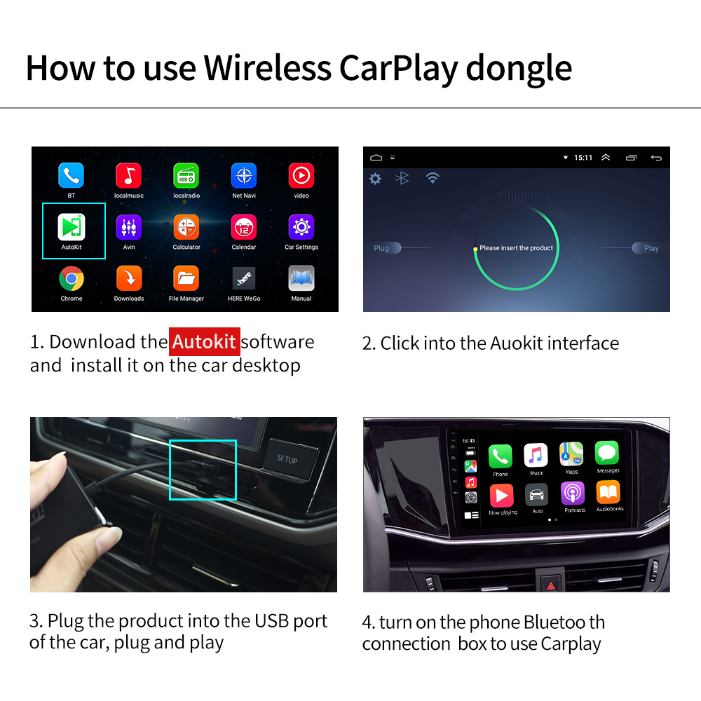 cheapest Carlinkit Android Auto Dongle Apple Wireless CarPlay Dongle USB Smart Link For Android Navigation Player Mirrorlink  IOS 13