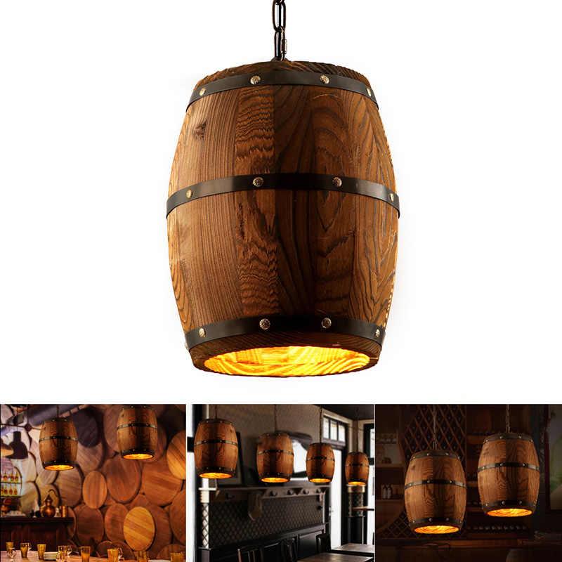 Dozzlor 1 pc barril de vinho madeira pendurado luminária iluminação pingente adequado para bar café luzes do teto restaurante lâmpada barril