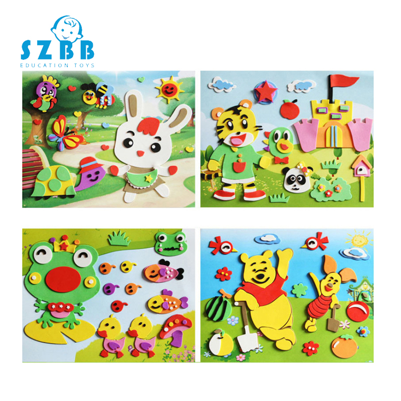 Sz Steam DIY 3D Eva Stickers Toys For Children Cartoon Animal Paste Painting Kids Boy Girl Puzzle Early Learning Education Toys