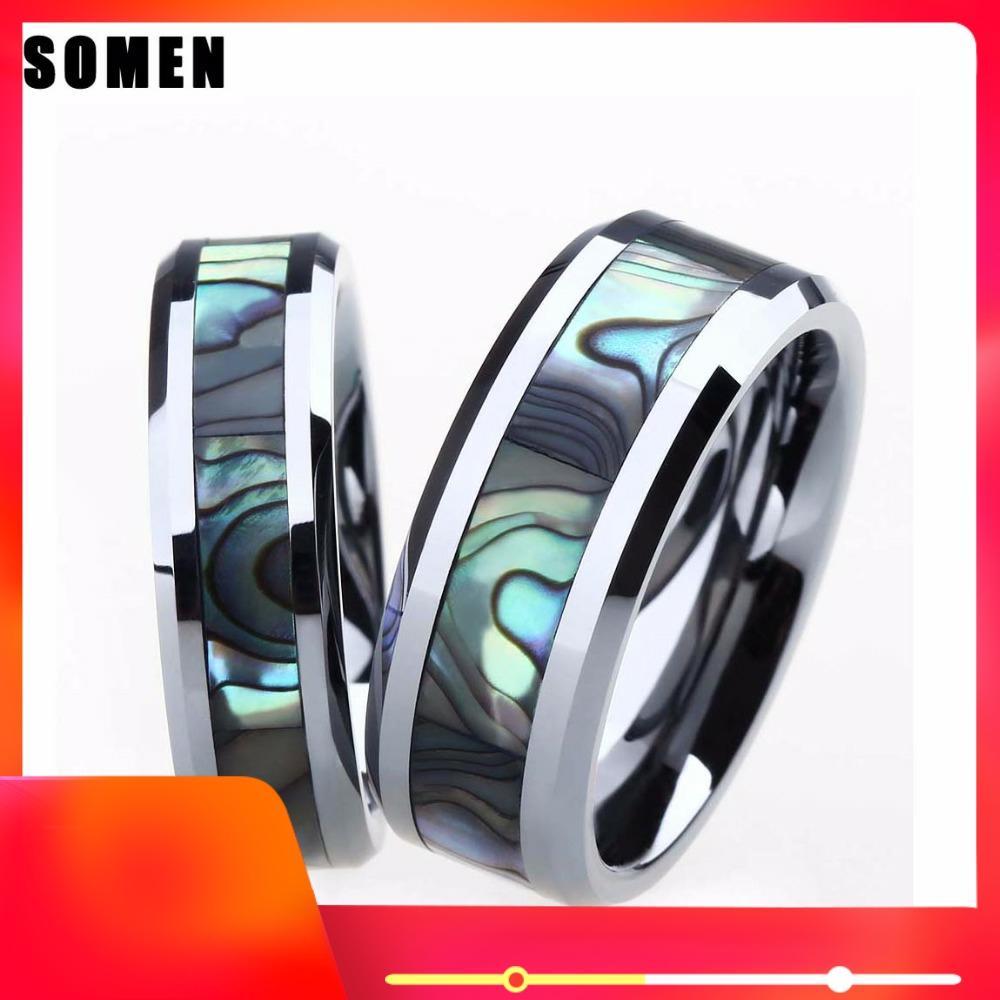 2 pces 6mm & 8mm anel conjunto para casal tungstênio anel de casamento de luxo abalone escudo anel de noivado do amante da aliança de jóias anel anel
