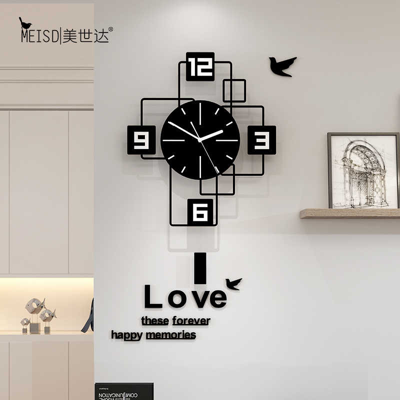 Platz Still Acryl Grosse Pendel Dekorative Schaukel Wanduhr Modernes Design Wohnzimmer Home Dekoration Wand Uhr Aufkleber Wanduhren Aliexpress