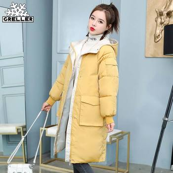 GRELLER 2020 New Winter Coat Women Contrast Color Windproof Long Parkas Stylish Hooded Thick Womens Jacket