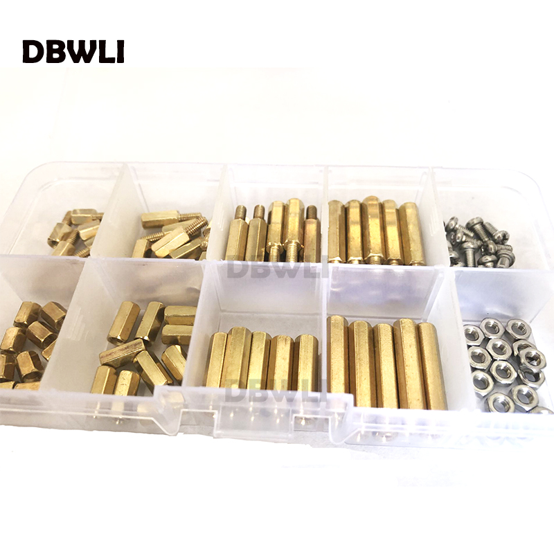 120pc M3 M2.5 Brass Male Female Hex Standoff Pillar Board Mount PCB Hexagon Motherboard Spacer Bolt Screw Nut Set Assortment Kit