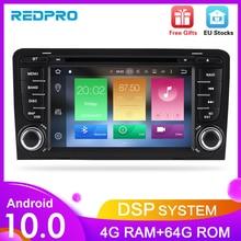 Autoradio Android 10.0, 4 go RAM/64 go ROM, Navigation GPS, lecteur multimédia, Audio/vidéo, stéréo, DVD, pour voiture Audi A3, S3 (2002), 2013