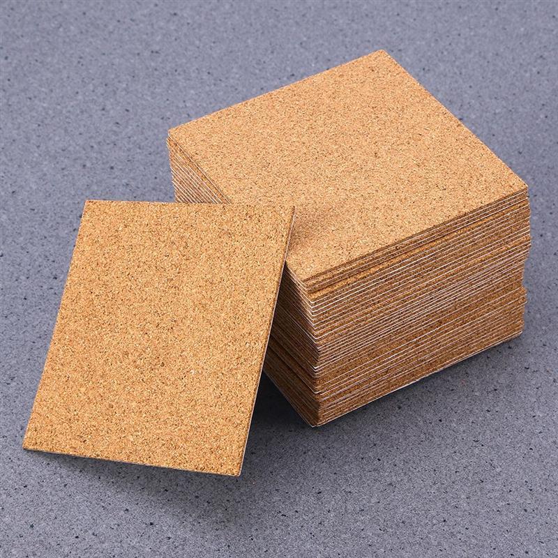 10pcs Self-adhesive Cork Coasters Squares Cork Mats Cork Backing Sheets For Coasters And Diy Crafts Supplies