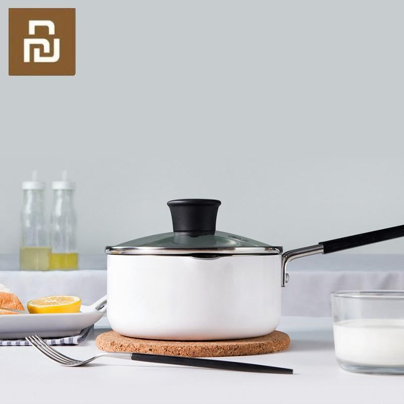 Mijia Youpin молочный горшок 16 см для согревания приготовления молока, супа, блинов, приготовления торта, кухонный горшок для яичного стейка, сковорода, гриль 1.36л|Смарт-гаджеты|   | АлиЭкспресс