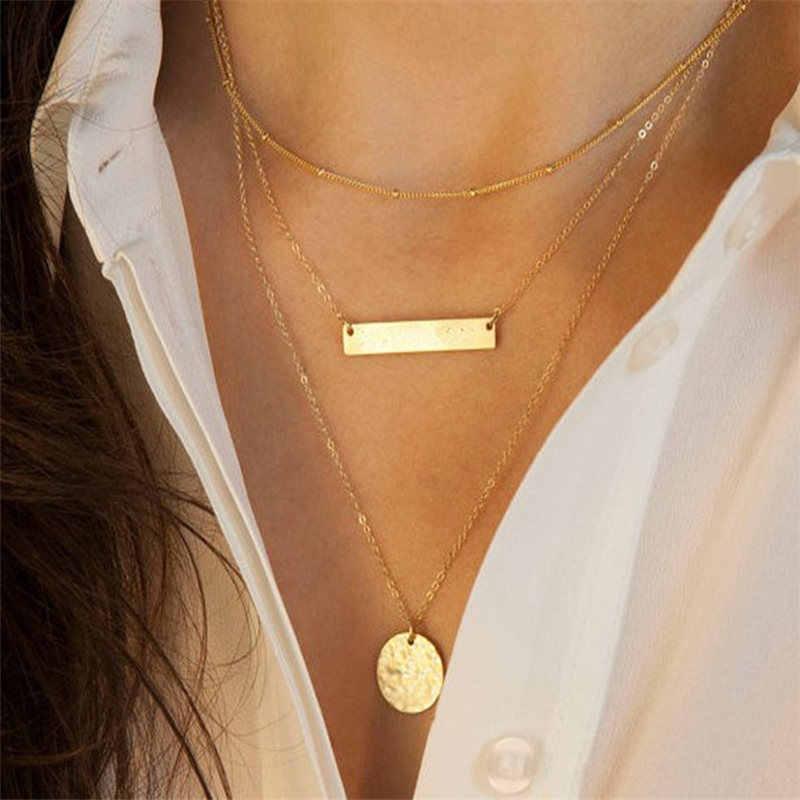 Mode alliage femmes colliers et pendentifs collier ras du cou 2018 or couleur cristal pendentif collier pour les femmes cadeau en gros