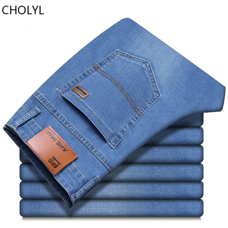 CHOLYL Jeans For Mens Pants Classic Denim Jean Men Business Trousers Casual Loose Straight Elasticity Pant Male Plus Size 28-40