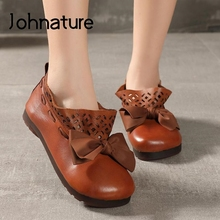 Shoes Flats Women Round-Toe Butterfly-Knot Genuine-Leather Casual Shallow Johnature Handmade