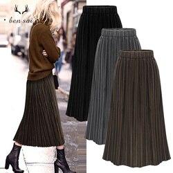 Женская новая юбка, модные золотые бархатные юбки, Женская плиссированная простая комфортная юбка с высокой талией, осень-весна размера плю...