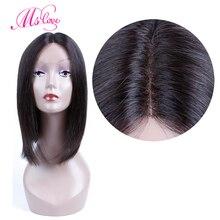 Человеческие волосы парики с челкой короткие парики прямые натуральные бразильские волосы парик не Реми MS Love