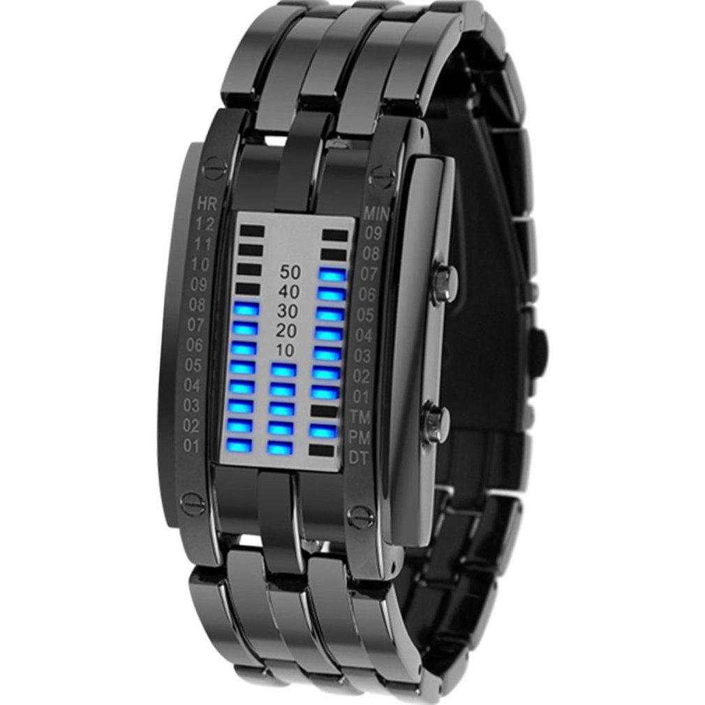 Men'S Watch Creative Binary Led Watch 17mm Wide Waterproof Luminous Calendar Watch Steel Band Men'S Watch Fashion