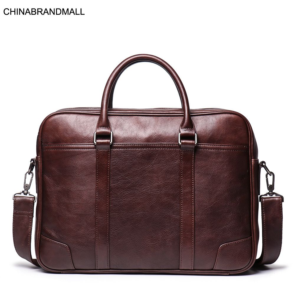 Genuine Leather Cow Skin Men Solid Briefcase Business Office Laptop Bags