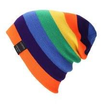 Многоцветная шерстяная шапка с прострочкой осень зима теплая