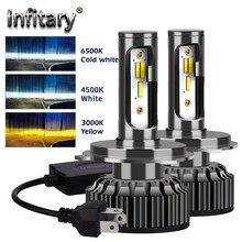 Lâmpadas de Farol de Carro Infitary H4 H7 Led 14000Lm H1 H3 H11 H13 880 9005 9006 9007 3 Mudam de Cor 3000K 4500K 6500K luzes de Nevoeiro Auto