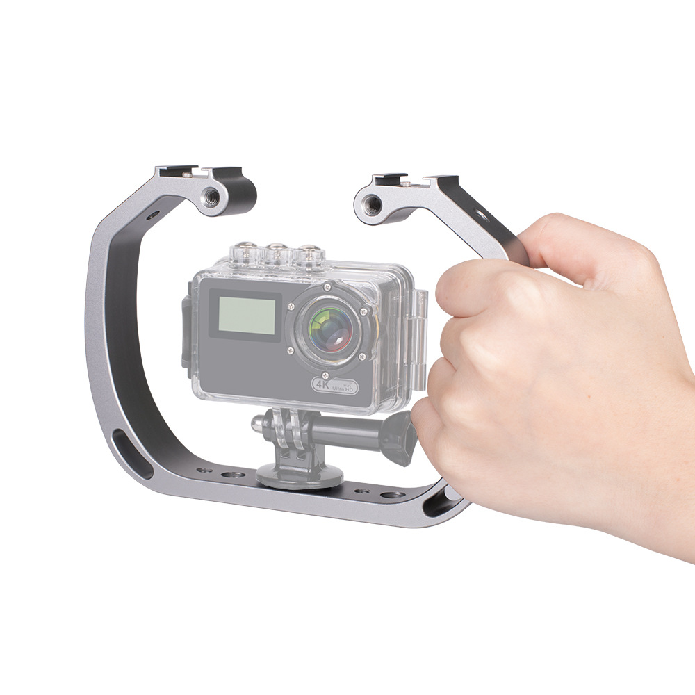 Double-Arm Handheld Support Stabilizer Hand Grip Diving Underwater Photography Equipment For GoPro Hero Xiaomi Yi Action Camera-1