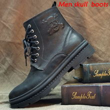 MenS Vintage & Unique Look Genuine Leather Ankle Motorcycle Military Combat Boots With Skull 7#15/15D50