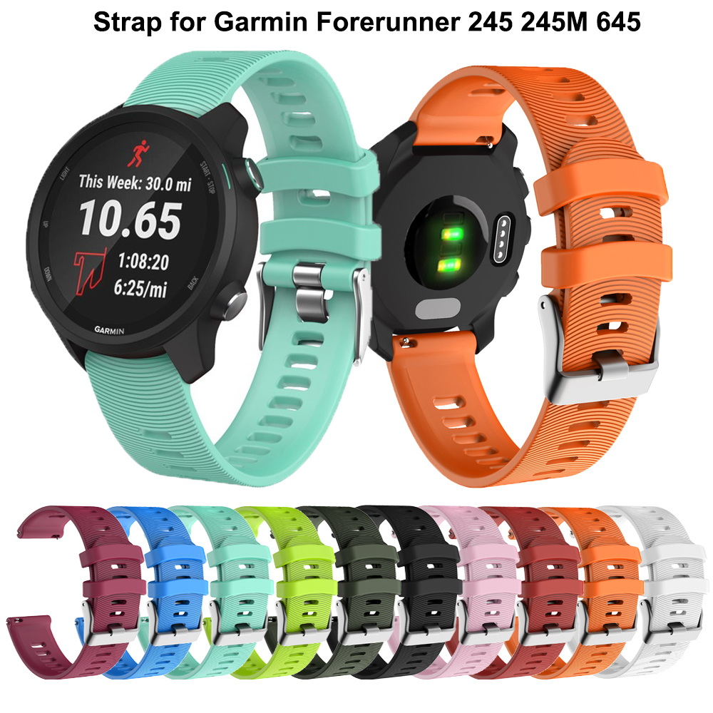 20MM Soft Silicone Watch Strap For Garmin Forerunner 245/245M/Vivoactive 3 Smart Watches Band For Forerunner 645 Music Wristband