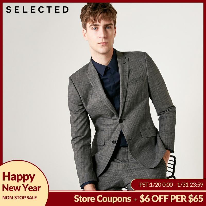 SELECTED Men's Regular Fit Blazer 100% Wool Plaid  Jacket Clothes T 41925Z501