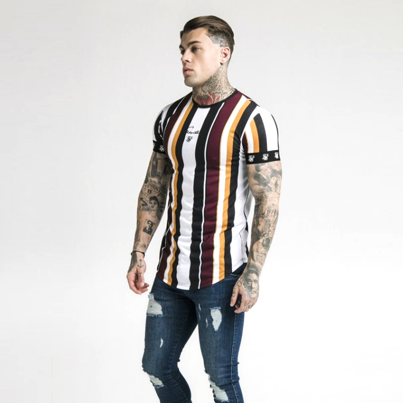Fashion Men's Casual T-shirts Short Sleeve Gradient Siksilk O-neck T-shirt For Men Clothes 2019 Brand T-shirts New Men T-shirt