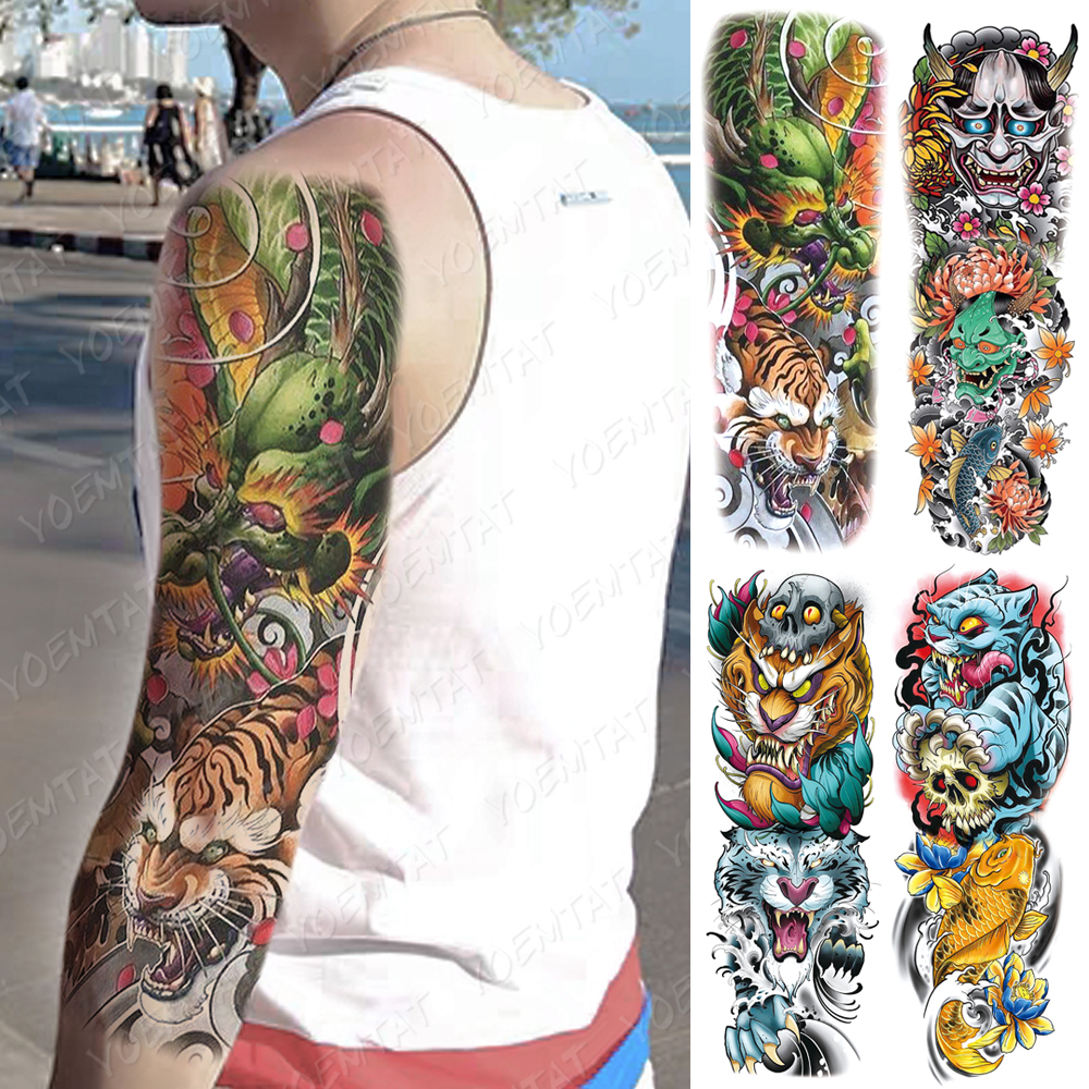 Large Arm Sleeve Tattoo Tiger Skull Dragon Waterproof Temporary Tatto Sticker Prajna Lion Body Art Full Fake Tatoo Women Men
