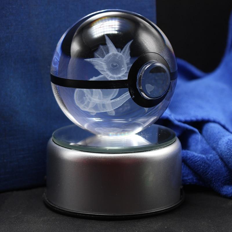Vaporeon Pokeball Crystal Ball Desktop Decoration Light Glass Ball LED Colorful Base Lamp Gift