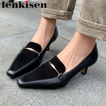 Lenkisen brand shoes genuine leather small square toe high heels metal decoration deep mouth slip on office lady basic pumps L03