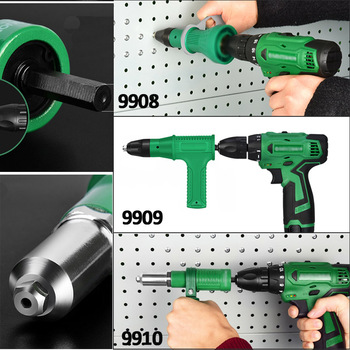 Electric Rivet Gun Adapter Electric Drill Blind Rivet Gun Head 2.4mm-4.8mm Industrial  Handheld Pull Rivet Nut Tool 6