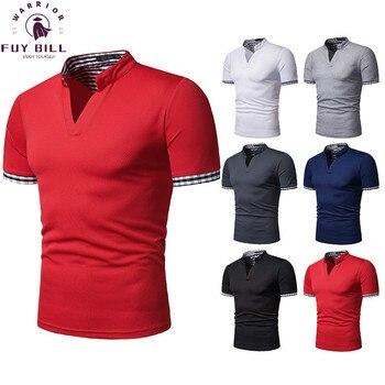 FuyBill 2021 New Fashion Men's Henry Collar Plaid Men's Short-sleeved Sport POLO Leisure Shirt V-shaped Collar Casual Polo Shirt 1