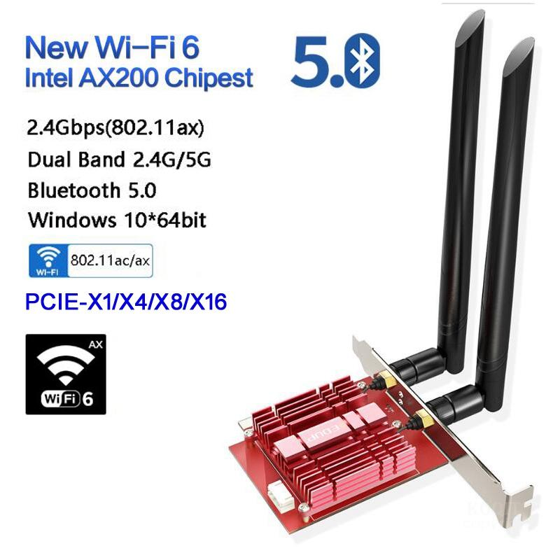 EDUP EP-9636GS 3000Mbps Dual Band 802.11AX Wifi 6 AX200 PCI-e PCI Express Network Card Bluetooth 5.0 PCI Wifi Adapter For Window