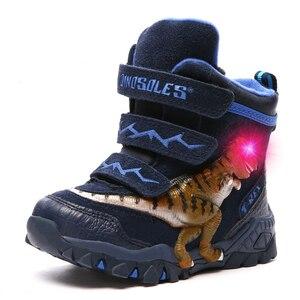 Image 2 - Dinoskulls 소년 겨울 부츠 눈 정품 가죽 T 렉스 LED 빛나는 패션 2020 어린이 2 8 따뜻한 봉 제 양 털 어린이 부츠 신발