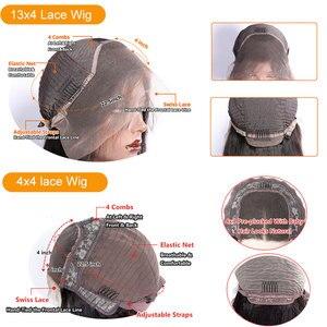 Image 5 - Su dalgası peruk 4x4 dantel kapatma peruk bebek saç ön koparıp brezilyalı 150 güneş ışığı 13x4 remy dantel ön İnsan saç peruk