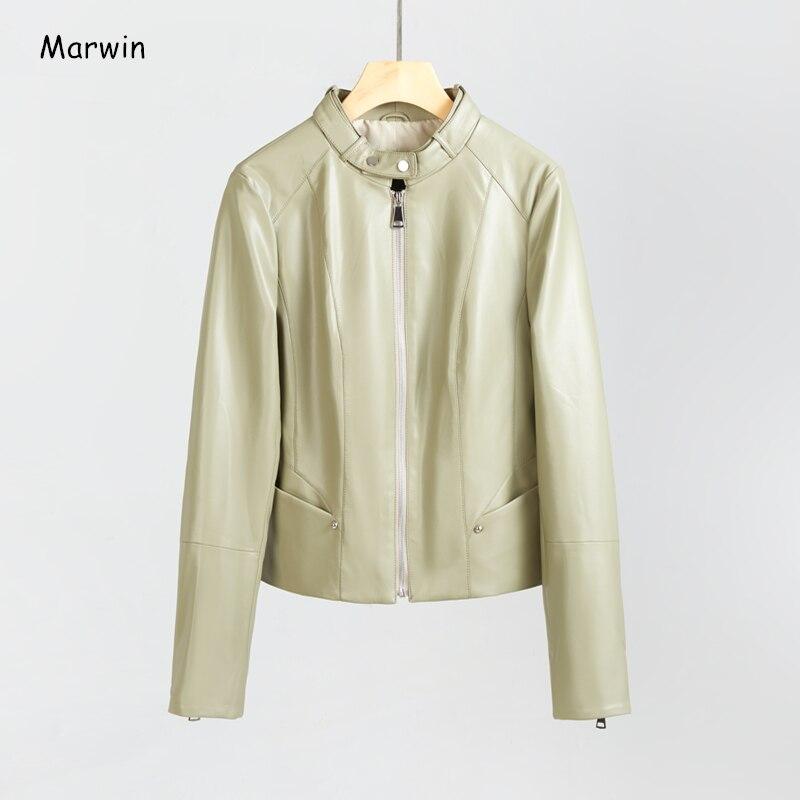 Marwin/Новинка 2020 г.; весеннее короткое кожаное пальто из искусственной кожи с круглым вырезом на молнии в уличном и байкерском стиле; женская к...