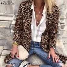 Leopard Print Blazers ZANZEA Women Turn-Down-Collar Autumn Casual Long Sleeve Co