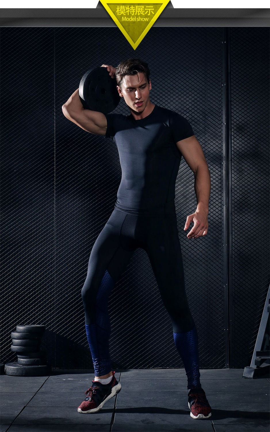 Foto from the front Men's compression t-shirt & pants for sport. 2 pieces Men's compression t-shirt & pants for sport