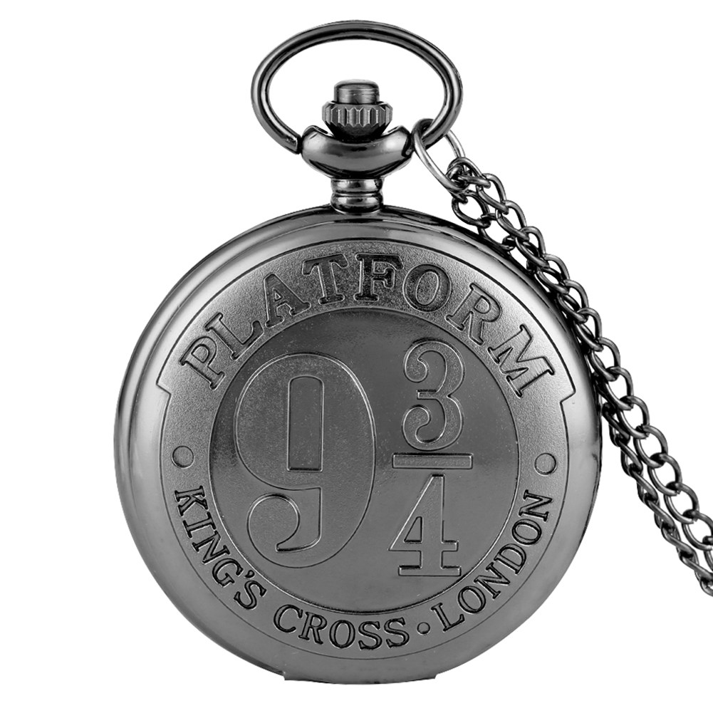Concise Harry Acceaory 9 3/4 Black Pocket Watch For Men Nine And Three Quarters Pattern For Boys Alloy Slim Chian Girls Necklace