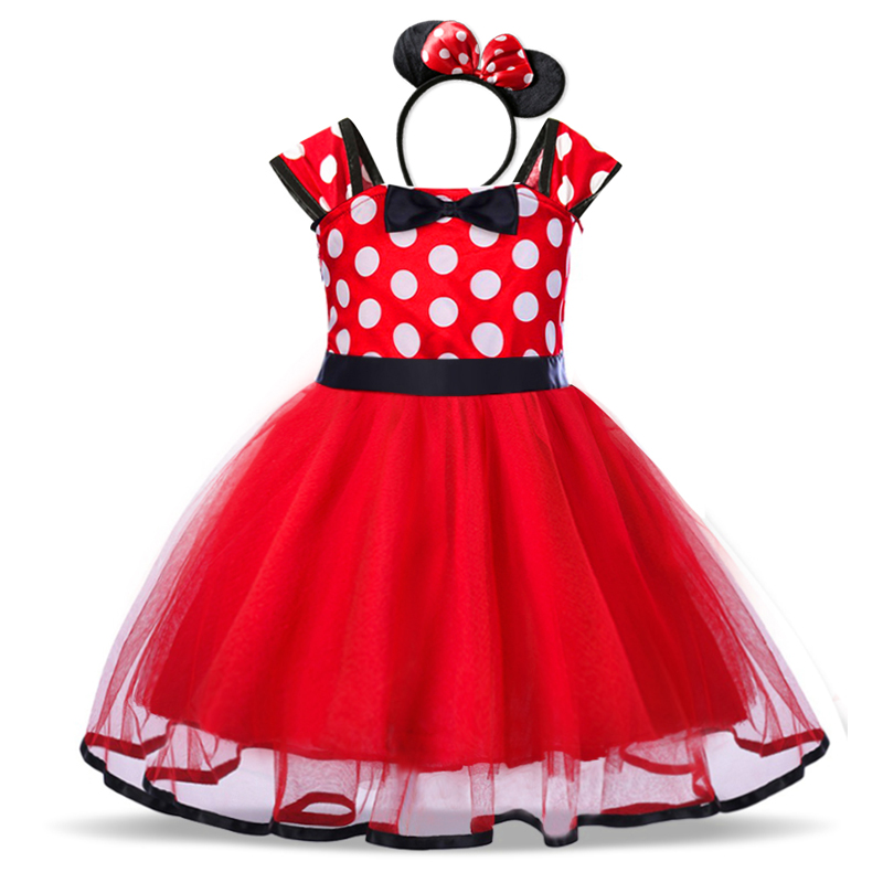 Baby Girls Birthday Party Tutu Princess Costume Toddler Kids Polka Dot Dress with Headband Outfits Children Vestidos 4