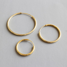 Real Silver Minimalist Circle Loop 3 Size Hoop Earrings Kolczyki Srebrne 925 Gold Joyas De Plata Mujer Fine Jewelry