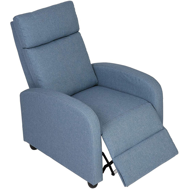 Fabric Recliner Chair Adjustable Single Sofa Home Theater Seating Recliner Reading Sofa for Living Room & Bedroom Red Gray Blue 4