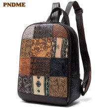 PNDME fashion vintage genuine leather ladies backpack handmade embossed stitching laptop bagpack designer cowhide travel bookbag