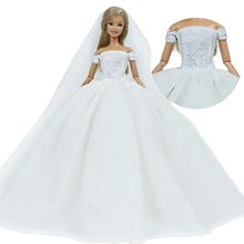 Luksusowa wysokiej jakości lalka sukienka dla lalki barbie impreza taneczna panna młoda nosić białą suknię + koronki welon ubrania 12 #8221 akcesoria dla lalek zabawka tanie tanio 1x Dress + 1x Veil White The Doll Is Not Included Sukienka w stylu western BJDBUS Fit for 11 5 -12 (30cm) doll CN (pochodzenie)