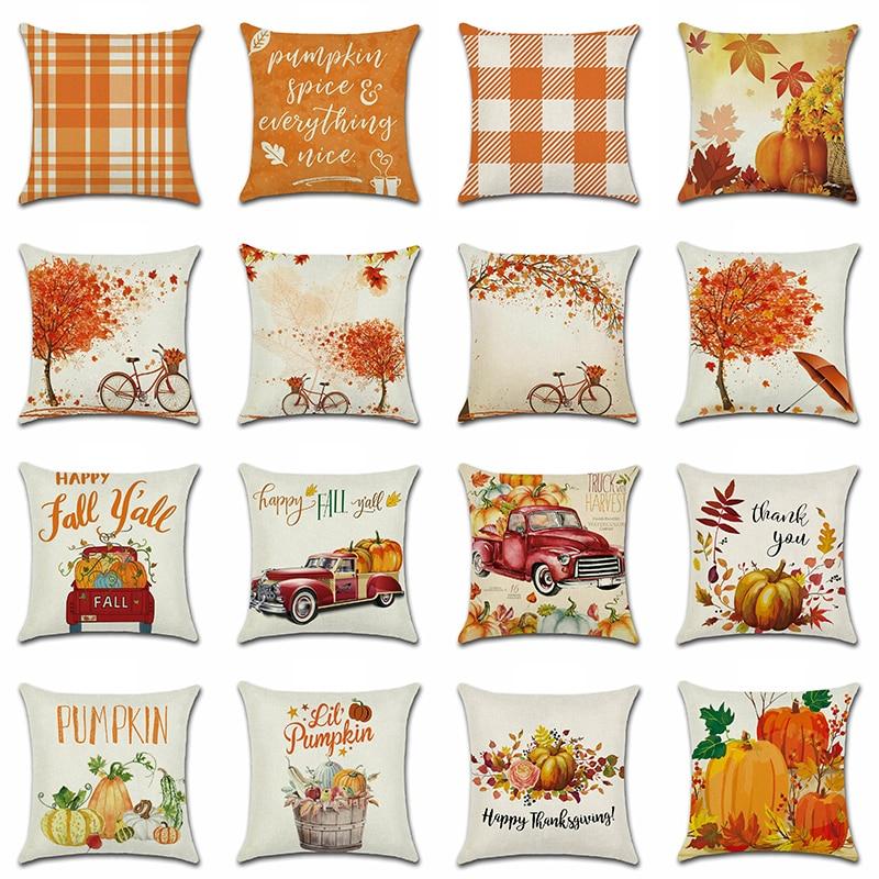 Наволочки для подушек на День Благодарения, изображение тыквы, грузовика, урожая, Деревенское искусство, Декор, наволочка для дивана, для до...