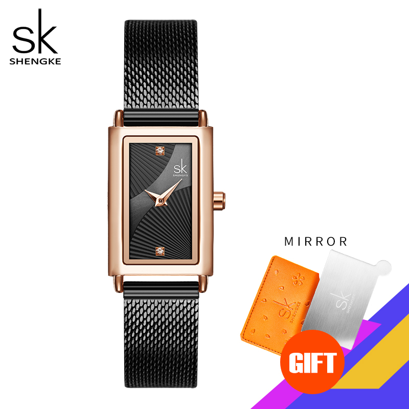 Shengke Women Watches Fashion Geneva Designer Ladies Watch Luxury Brand Rectangle Quartz Gold Wrist Watch Luxury Gifts For Women