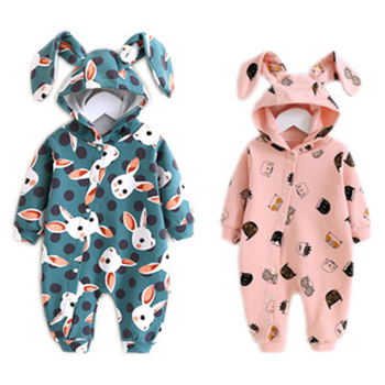 Newborn Baby Spring Autumn Rompers Long Sleeve Cartoon Rabbit Boy Girl Clothes Toddler Baby Cotton Infant Hooded Jumpsuit Romper newborn baby girl romper long sleeve baby rompers winter baby girls clothes toddler girl romper infant jumpsuit 3pcs set d30