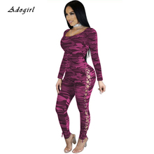 купить Sexy Skinny Grommet Camouflage Jumpsuit Casual O Neck Long Sleeve Lace Up Rompers Evening Club Party Bodycon Overalls For Women по цене 1073.36 рублей